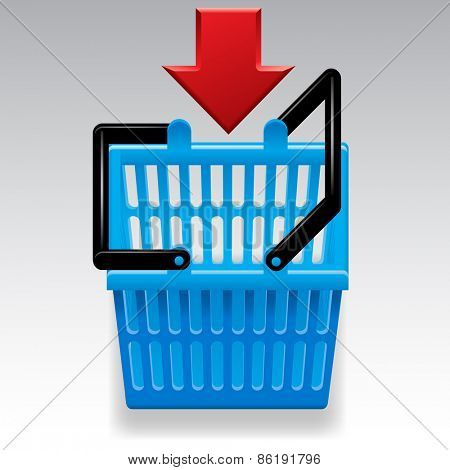 Blue shopping basket with red arrow on white background. Computer icon. Contain the Clipping Path