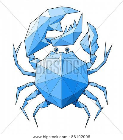 Crab. Low polygon linear vector illustration