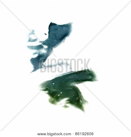 Abstract green watercolor hand painted background insult Rorscha