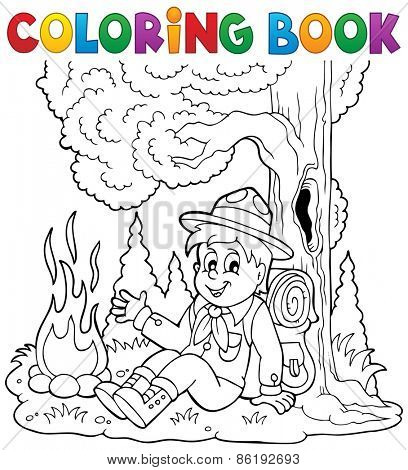 Coloring book scout boy theme 1 - eps10 vector illustration.