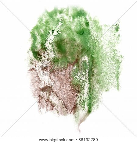 Abstract green, brown watercolor hand painted background insult