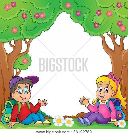 School children thematic image - eps10 vector illustration.