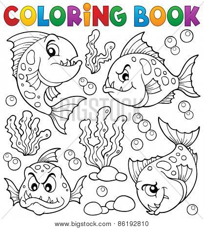 Coloring book piranha fishes theme - eps10 vector illustration.