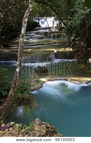 Waterfall Blue In Jungle