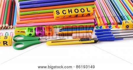 School stationery isolated on white