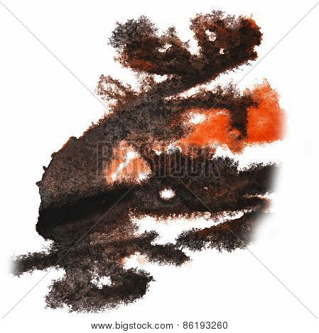 abstract hand black, orange drawn watercolor blot insult Rorscha