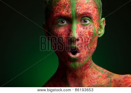color face art woman face close up portrait