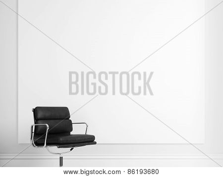 Blank Poster And Black Chair. 3D illustration