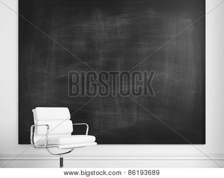 Blank Poster And White Chair. 3D illustration
