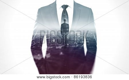 Double Exposure Concept With Businessman Silhouette