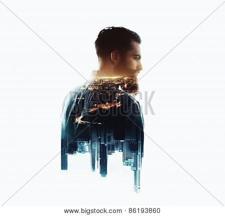 Double Exposure With Bearded Man And City