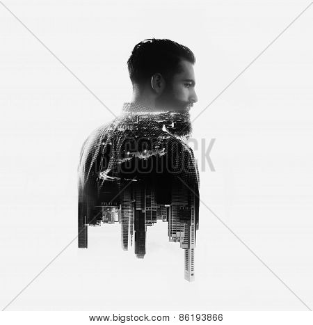 Double Exposure Concept With Bearded Man And Skyscrapers
