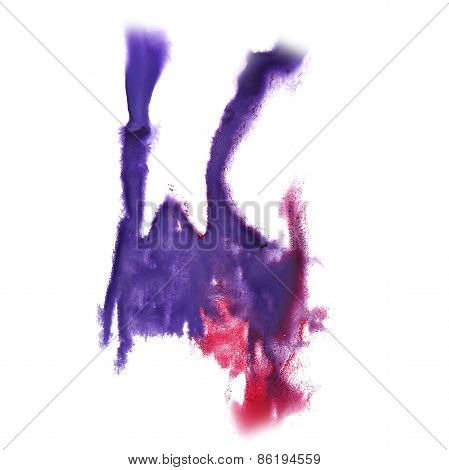 abstract lilac, pink hand drawn watercolor blot insult Rorschach