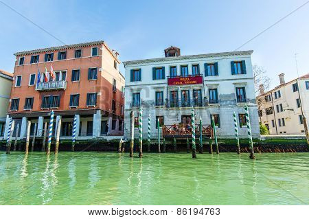 Venice, Italy - Mar 18 - Grand Canal Hotel On Canal Grande On Mars 18, 2015 In Venice, Italy.
