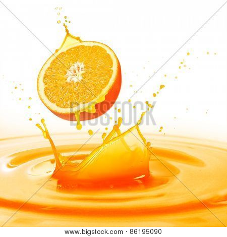 Splashing orange juice isolated on white
