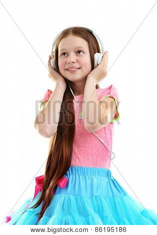 Beautiful little girl with headphones, isolated on white