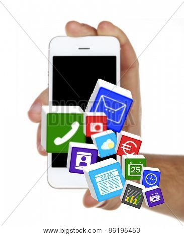 Smart-phone in hand and icons on buttons isolated on white