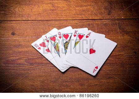 Poker. Combination Royal Flush hearts