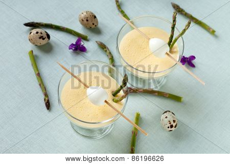 Cups With Mustard Mayonnaise With Quail Eggs