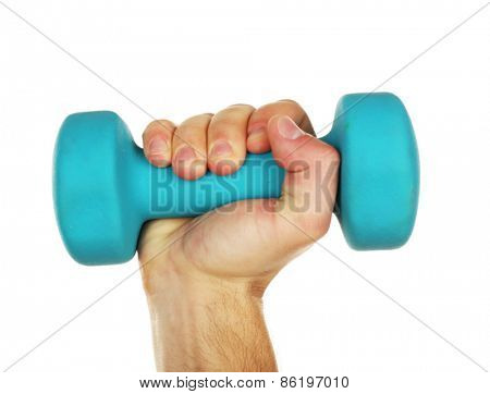 Male hand with dumbbell isolated on white
