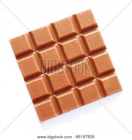 Milk chocolate bar isolated on white