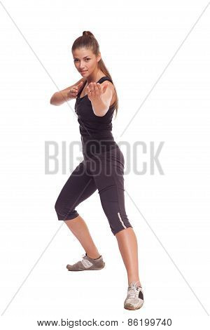 Portrait of a sexy fitness woman ready to fight.