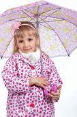 pic of cloak  - Pretty little girl in cloak with pink umbrella - JPG