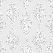 stock photo of damask  - Vector Floral Damask 3d Seamless Pattern Background - JPG
