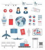 stock photo of passport template  - flat airport infographic elements and icons vector on white - JPG
