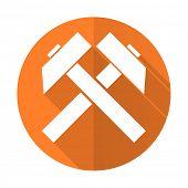 stock photo of mines  - mining orange flat icon   - JPG