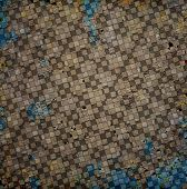 stock photo of chessboard  - Grungy dotted chessboard with blue background with stains and scratches - JPG