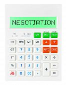 picture of negotiating  - Calculator with NEGOTIATION on display isolated on white background - JPG