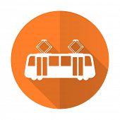 picture of tram  - tram orange flat icon public transport sign  - JPG