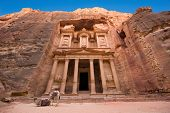 stock photo of treasury  - The treasury or Al Khazna it is the most magnificant and famous facade in Petra Jordan it is 40 meters high 2014 in Jordan - JPG