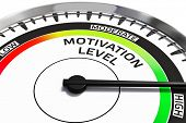 Постер, плакат: Motivation level concept gauge gage dial close up with arrow measuring high motivation