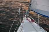 stock photo of yachts  - Piece of yacht close up - JPG