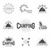 picture of outline  - Set of camping vintage adventure hipster emblem in outline style - JPG