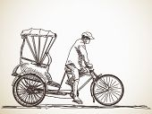 stock photo of rickshaw  - Sketch of cycle rickshaw - JPG