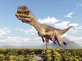 stock photo of dilophosaurus  - Computer generated 3D illustration with the Dinosaur Dilophosaurus - JPG