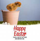 pic of stuffed animals  - happy easter against stuffed chick in pink bucket - JPG