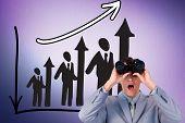 image of binoculars  - Suprised businessman looking through binoculars against digitally generated grey vignette background - JPG