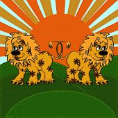 picture of applique  - textile lion applique with sunshine background with sewing stitch - JPG