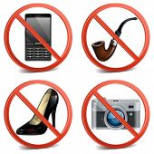 stock photo of tobacco-pipe  - Round prohibitory sign with phone - JPG