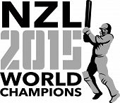 picture of bat  - Illustration of a cricket player batsman with bat batting set inside shield with words New Zealand NZL Cricket 2015 World Champions done in retro style on isolated background - JPG