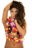 pic of hula dancer  - A Hawaiian woman with her flower lei and coconut bra with a sensual expression on her face - JPG