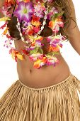 stock photo of hula dancer  - A Hawaiian woman in her coconut bra and her grass skirt - JPG