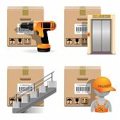 stock photo of elevator icon  - Shipment Icons Set with carton box - JPG