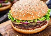 picture of beef-burger  - Beef burger with pickles - JPG