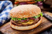 image of pork cutlet  - Burger with pork cutlete and pickles - JPG