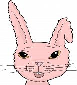 pic of bent over  - Single pink cartoon bunny rabbit with bent ear over white - JPG